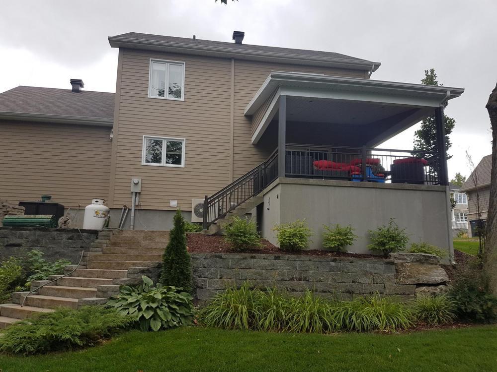 Construction d'un toit 1 versant avec finition de patio