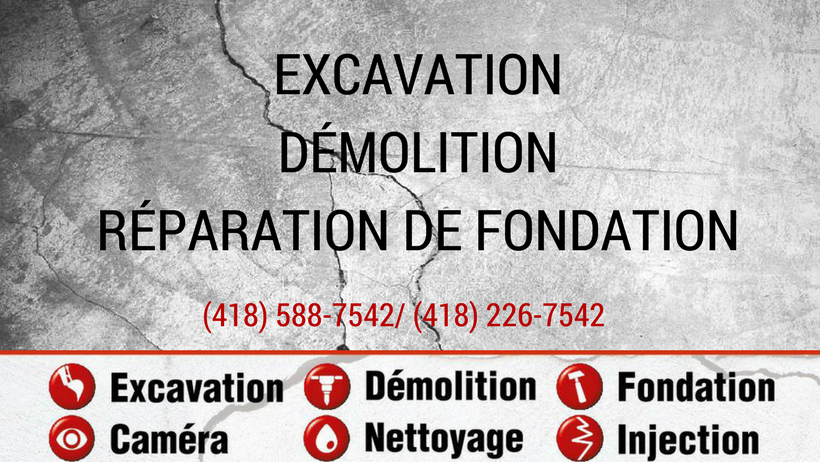 réparation de fondation, excavation à St-Victor